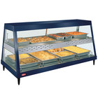 Hatco GRHDH-4PD Navy Blue Stainless Steel Glo-Ray 59 3/8 inch Full Service Dual Shelf Merchandiser with Humidity Chamber - 120/240V