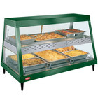 Hatco GRHDH-3PD Hunter Green Stainless Steel Glo-Ray 46 3/8 inch Full Service Dual Shelf Merchandiser with Humidity Chamber