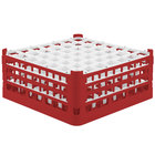 Vollrath 52724 Signature Full-Size Red 49-Compartment 7 1/8 inch X-Tall Glass Rack