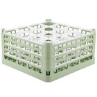 Vollrath 52721 Signature Full-Size Light Green 16-Compartment 8 1/2 inch XX-Tall Glass Rack
