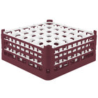Vollrath 52716 Signature Full-Size Burgundy 36-Compartment 7 1/8 inch X-Tall Glass Rack