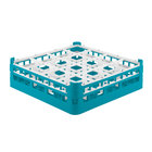 Vollrath 52718 Signature Full-Size Light Blue 16-Compartment 4 5/16 inch Medium Glass Rack