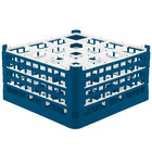 Vollrath 52721 Signature Full-Size Royal Blue 16-Compartment 8 1/2 inch XX-Tall Glass Rack