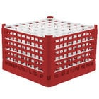 Vollrath 52740 Signature Full-Size Red 49-Compartment 11 3/8 inch XXXX-Tall Glass Rack