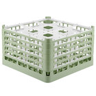 Vollrath 52731 Signature Full-Size Light Green 9-Compartment 9 15/16 inch XXX-Tall Glass Rack