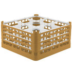 Vollrath 52729 Signature Full-Size Gold 9-Compartment 8 1/2 inch XX-Tall Glass Rack