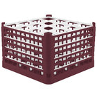 Vollrath 52737 Signature Full-Size Burgundy 16-Compartment 11 3/8 inch XXXX-Tall Glass Rack