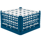 Vollrath 52733 Signature Full-Size Royal Blue 25-Compartment 9 15/16 inch XXX-Tall Glass Rack