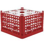 Vollrath 52736 Signature Full-Size Red 9-Compartment 11 3/8 inch XXXX-Tall Glass Rack