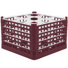 Vollrath 52736 Signature Full-Size Burgundy 9-Compartment 11 3/8 inch XXXX-Tall Glass Rack