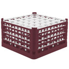 Vollrath 52734 Signature Full-Size Burgundy 36-Compartment 9 15/16 inch XXX-Tall Glass Rack