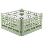 Vollrath 52729 Signature Full-Size Light Green 9-Compartment 8 1/2 inch XX-Tall Glass Rack
