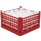 Vollrath 52754 Signature Lemon Drop Full-Size Red 20-Compartment 9 15/16 inch XXX-Tall Glass Rack