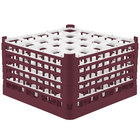 Vollrath 52777 Signature Full-Size Burgundy 25-Compartment 10 9/16 inch XXX-Tall Plus Glass Rack