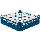 Vollrath 52767 Signature Full-Size Royal Blue 16-Compartment 4 13/16 inch Medium Plus Glass Rack