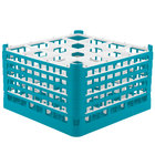 Vollrath 52771 Signature Full-Size Light Blue 16-Compartment 10 9/16 inch XXX-Tall Plus Glass Rack