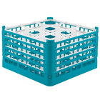 Vollrath 52765 Signature Full-Size Light Blue 9-Compartment 10 9/16 inch XXX-Tall Plus Glass Rack