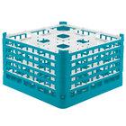 Vollrath 52765 Signature Full-Size Light Blue 9-Compartment 10 9/16 inch XXX-Tall Plus Glass Rack