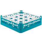Vollrath 52767 Signature Full-Size Light Blue 16-Compartment 4 13/16 inch Medium Plus Glass Rack