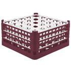Vollrath 52776 Signature Full-Size Burgundy 25-Compartment 9 1/16 inch XX-Tall Plus Glass Rack