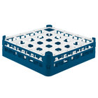 Vollrath 52773 Signature Full-Size Royal Blue 25-Compartment 4 13/16 inch Medium Plus Glass Rack