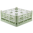 Vollrath 52763 Signature Full-Size Light Green 9-Compartment 7 11/16 inch X-Tall Plus Glass Rack
