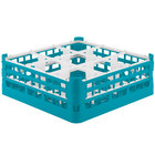 Vollrath 52762 Signature Full-Size Light Blue 9-Compartment 6 1/4 inch Tall Plus Glass Rack