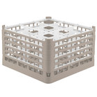 Vollrath 52765 Signature Full-Size Beige 9-Compartment 10 9/16 inch XXX-Tall Plus Glass Rack