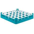 Vollrath 52772 Signature Full-Size Light Blue 25-Compartment 3 1/4 inch Short Plus Glass Rack