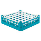 Vollrath 52779 Signature Full-Size Light Blue 36-Compartment 4 13/16 inch Medium Plus Glass Rack