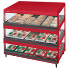 Hatco GRSDS-36T Warm Red Glo-Ray 36 inch Slanted Triple Shelf Merchandiser - 120/208V