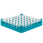 Vollrath 52784 Signature Full-Size Light Blue 49-Compartment 3 1/4 inch Short Plus Glass Rack