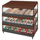 Hatco GRSDS-36T Antique Copper Glo-Ray 36 inch Slanted Triple Shelf Merchandiser