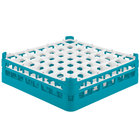 Vollrath 52785 Signature Full-Size Light Blue 49-Compartment 4 13/16 inch Medium Plus Glass Rack