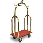 CSL 3533BK-030-RED Trident Style Titanium Gold Bellman's Cart with Red Carpet Base, Black Bumper, Clothing Rail, and 8