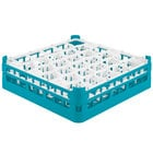 Vollrath 52813 Signature Lemon Drop Full-Size Light Blue 30-Compartment 4 13/16 inch Medium Plus Glass Rack