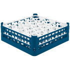 Vollrath 52816 Signature Lemon Drop Full-Size Royal Blue 30-Compartment 5 11/16 inch Tall Glass Rack