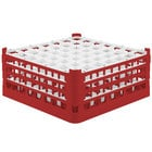 Vollrath 52787 Signature Full-Size Red 49-Compartment 7 11/16 inch X-Tall Plus Glass Rack