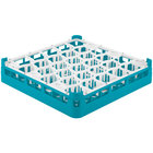 Vollrath 52811 Signature Lemon Drop Full-Size Light Blue 30-Compartment 3 1/4 inch Short Plus Glass Rack
