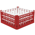 Vollrath 52788 Signature Full-Size Red 49-Compartment 9 1/16 inch XX-Tall Plus Glass Rack