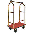 CSL 2633BK-030-RED Titanium Gold Heavy Duty Bellman's Cart with Rectangular Red Carpet Base, Black Bumper, Angled Top Clothing Rail, and 8 inch Black Pneumatic Casters - 44 inch x 24 inch x 70 inch