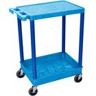 Luxor BUSTC21BU Blue Two Shelf Utility Cart