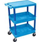 Luxor BUSTC211BU Blue Three Shelf Utility Cart