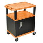 Luxor / H. Wilson WT34ORC2E-B Orange Tuffy Two Shelf A/V Cart with Locking Cabinet - 24 inch x 18 inch x 34 inch