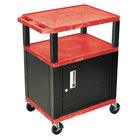 Luxor WT34RC2E-B Red Tuffy Two Shelf A/V Cart with Locking Cabinet - 24 inch x 18 inch x 34 inch