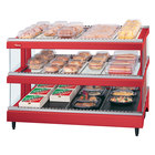 Hatco GR3SDS-27D Warm Red Glo-Ray 27 inch Slanted Double Shelf Heated Glass Merchandising Warmer - 120V