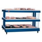 Hatco GR3SDH-27D Navy Blue Glo-Ray 27 inch Horizontal Double Shelf Heated Glass Merchandising Warmer - 120V