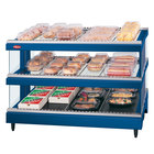 Hatco GR3SDS-27D Navy Blue Glo-Ray 27 inch Slanted Double Shelf Heated Glass Merchandising Warmer - 120V