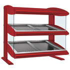 Hatco HZMS-54D Warm Red 54 inch Slanted Double Shelf Heated Zone Merchandiser - 120/240V