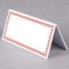Rectangular Write On Deli Tent Sign with Red Checkered Border - 25/Pack
